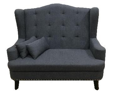 Furniture of America Mikaela Wing-Back Upholstered Loveseat