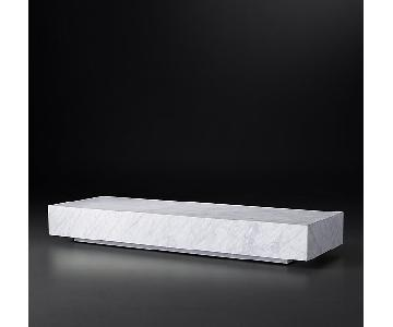 Restoration Hardware White Marble Low Plinth Coffee Table