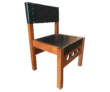 Vintage Wood Chairs w/ Black Leather Seat