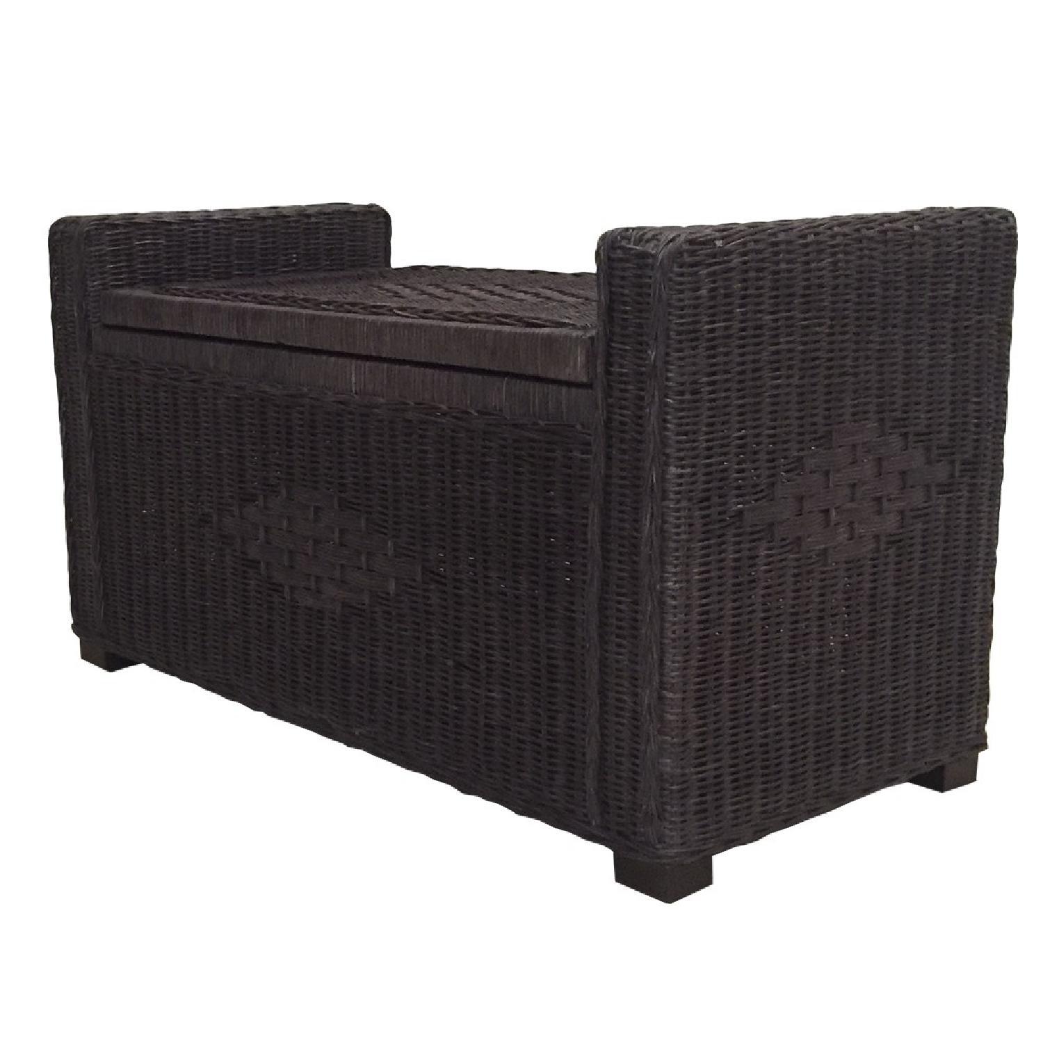 Adam Dark Brown Rattan Chest Storage Ottoman