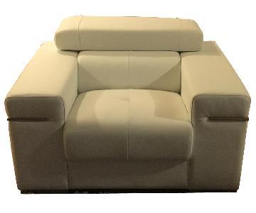 Leather White Armchair w/ Adjustable Headrest