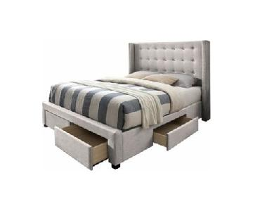 Upholstered Tufted Wingback Storage Bed