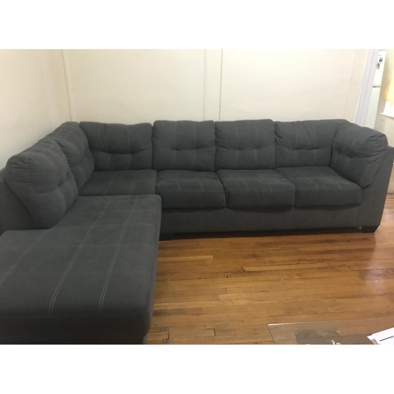 ... Grey 2 Piece Queen Sleeper Sectional Sofa 1 ...