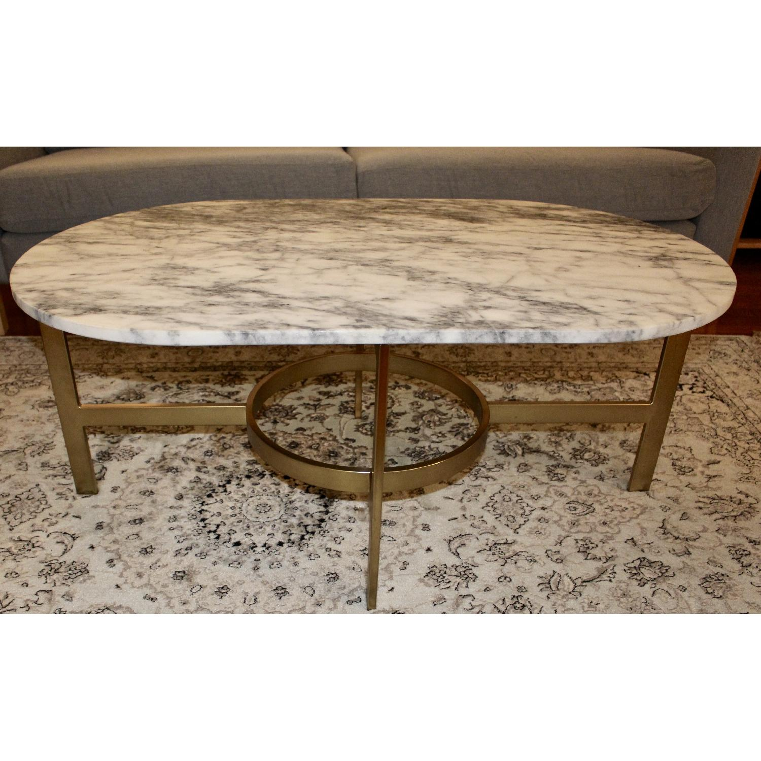 ... West Elm Marble Oval Coffee Table 0 ...