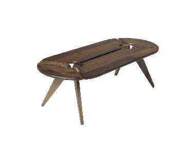 Oblong Modern Walnut Coffee Table