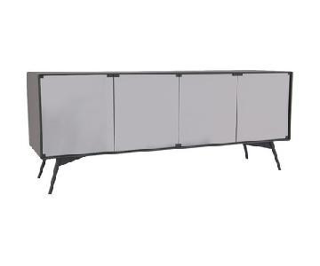 Modloft White & Smoked Mirrored Glass Sideboard