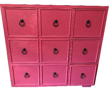 Crate & Barrel Pink Painted Apothecary Style Dresser