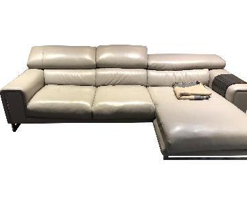 Natuzzi Leather 2-Piece Chaise Sectional Sofa
