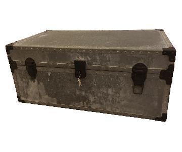 Anthropologie 1930s Antique Zinc Steamer Trunk Chest