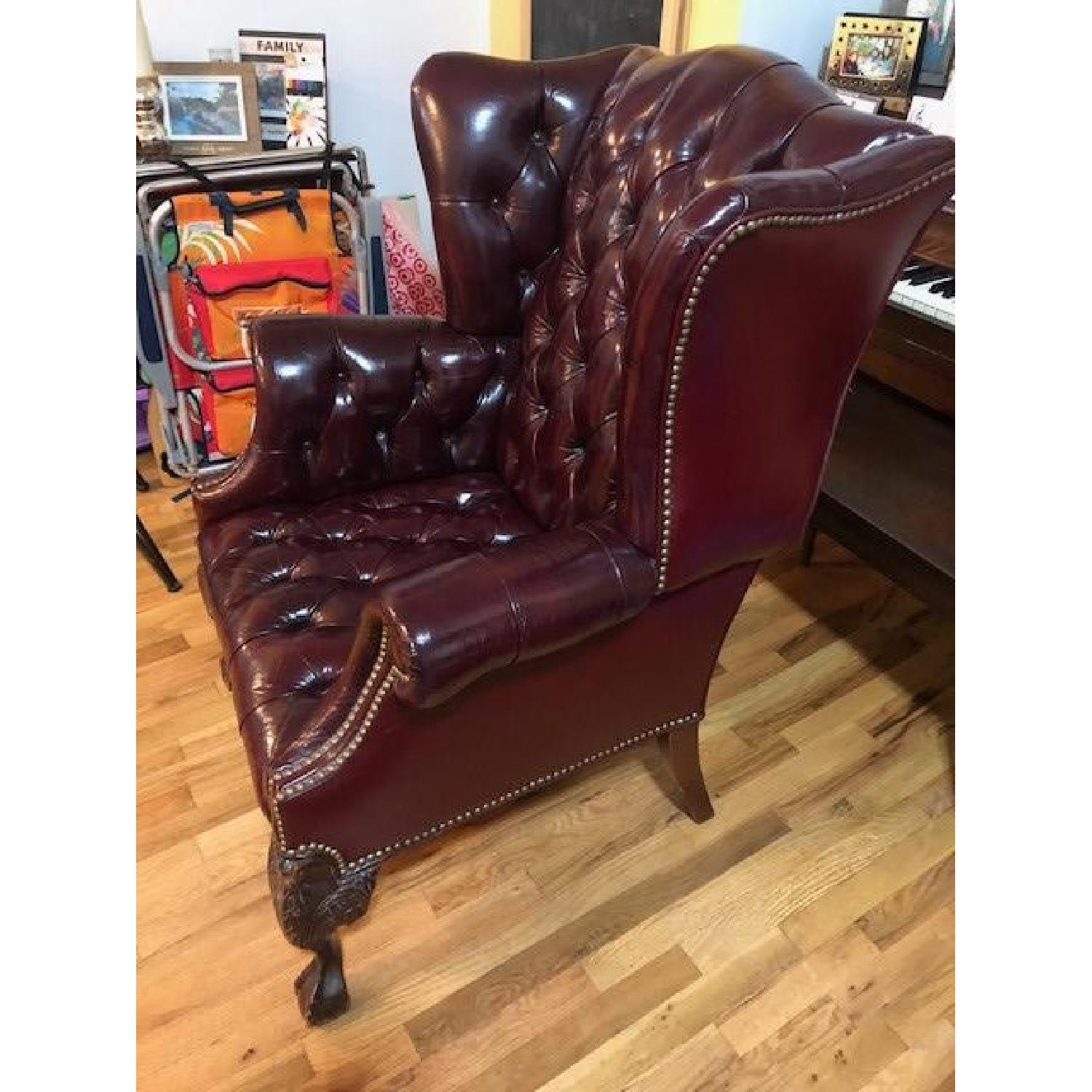 ... Vintage Red Leather English Barrister Chairs 2 ...