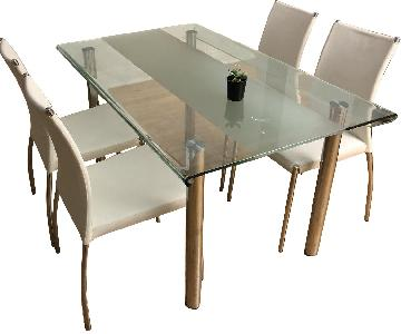 Glass Dining Table w/ 4 White Leather Chairs