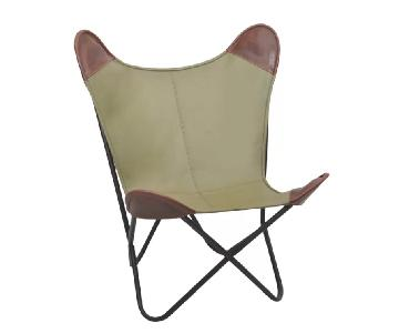 Leather & Olive Canvas Butterfly Lounge Chair