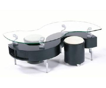 Glass S Coffee Table w/ 2 Stools