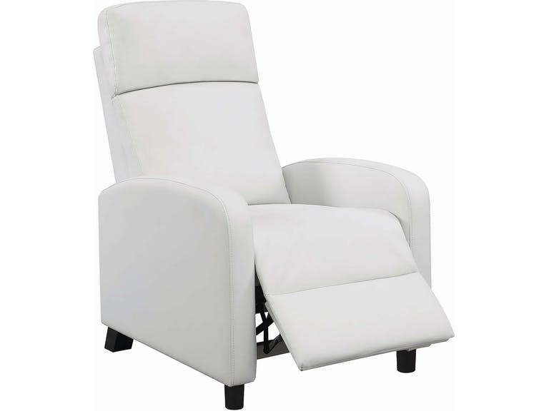 Compact Recliner Chair in White Leatherette