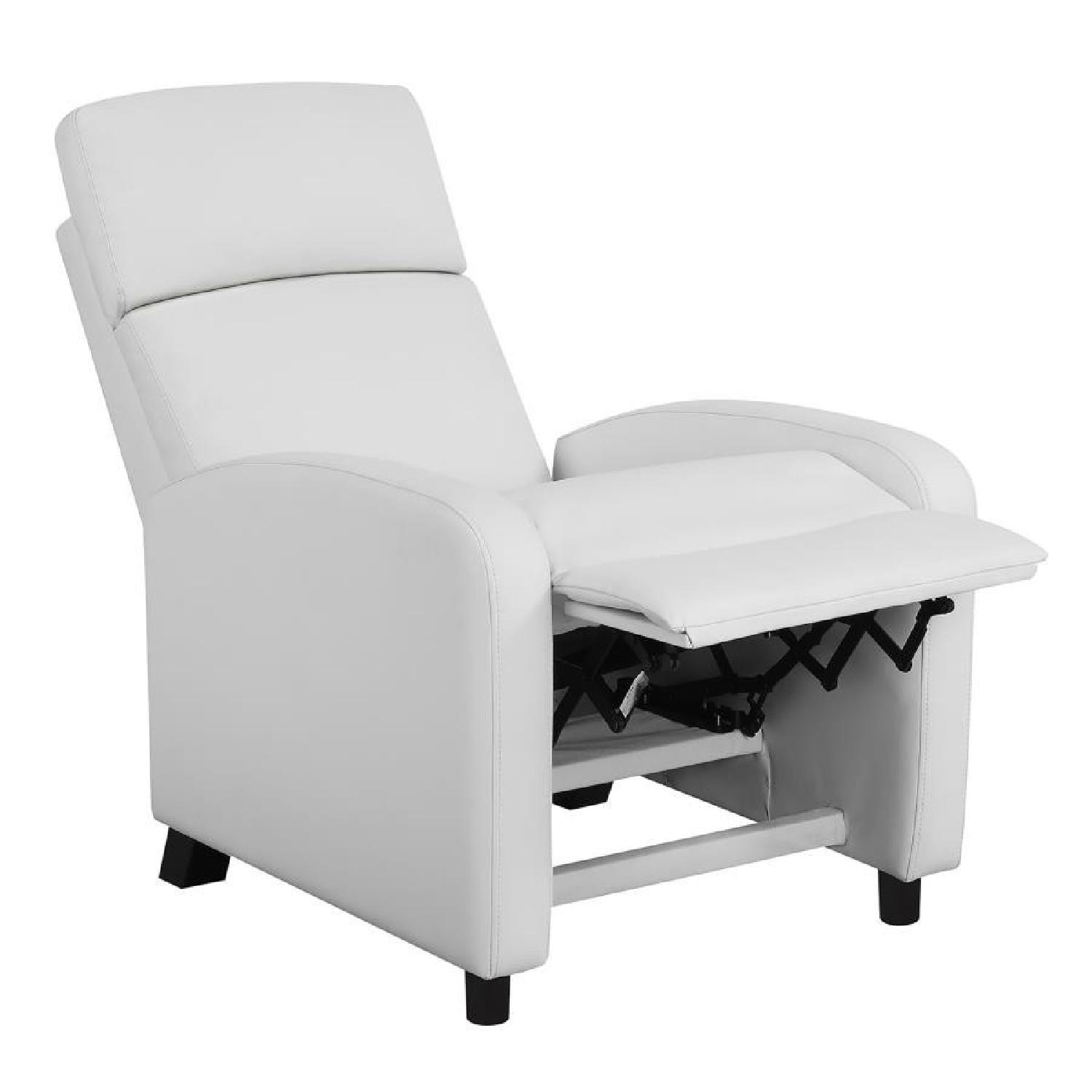Compact Recliner Chair in White Leatherette-0