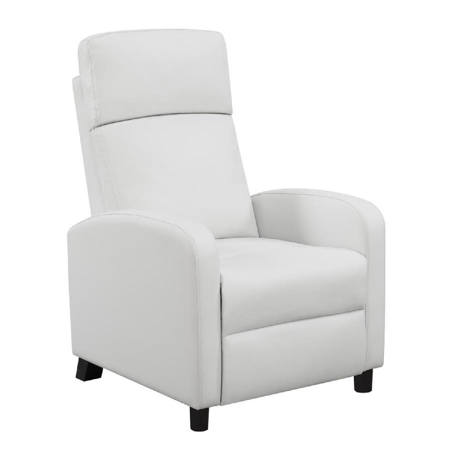 Compact Recliner Chair in White Leatherette-1