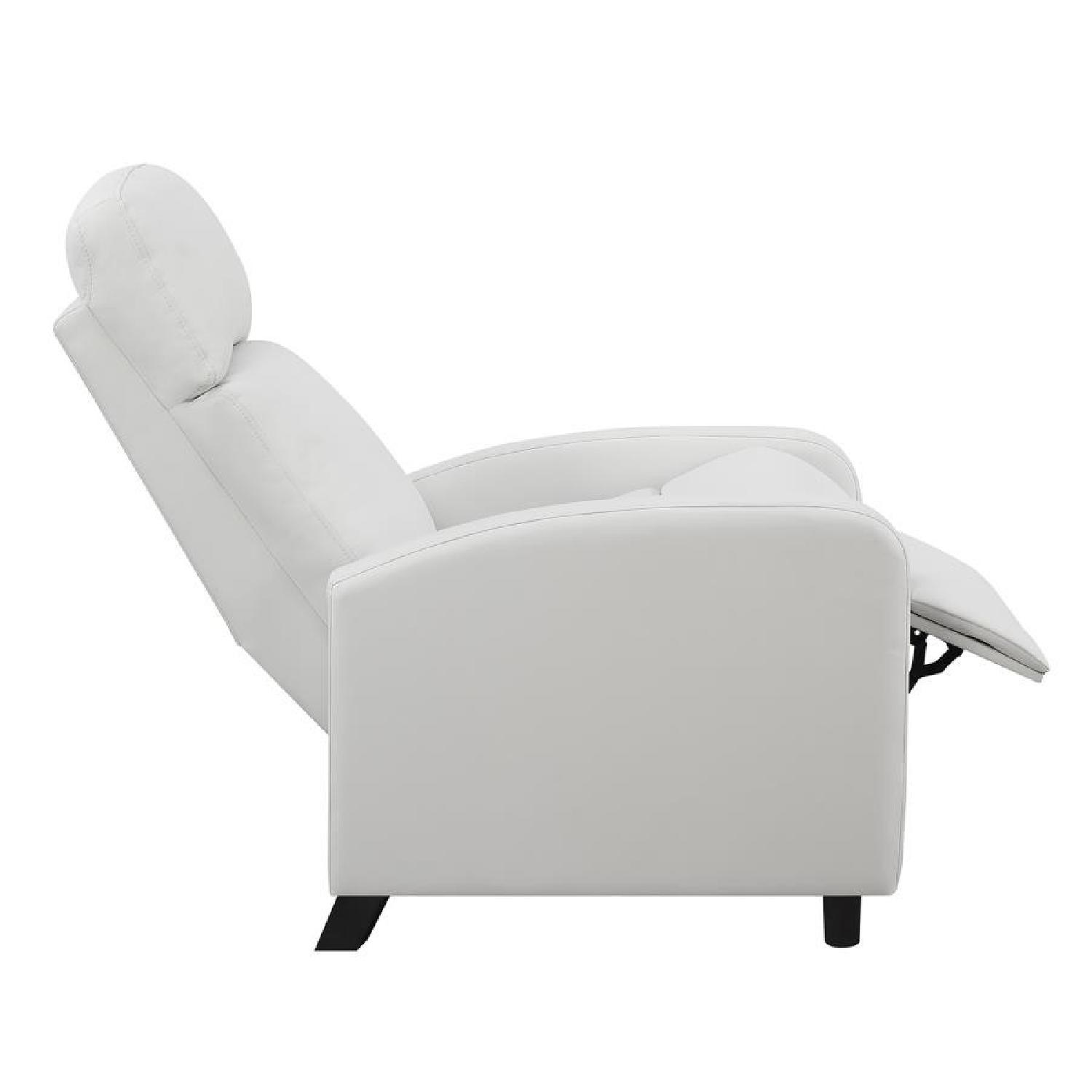 Compact Recliner Chair in White Leatherette-2