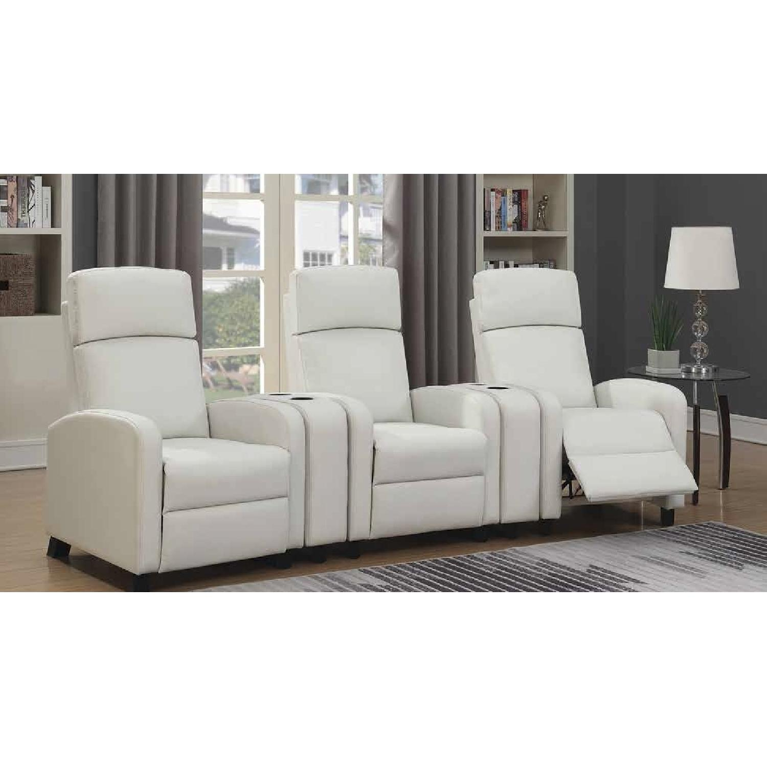 Compact Recliner Chair in White Leatherette-4