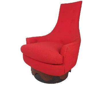 Rowe Mid-Century Modern High Back Swivel Lounge Chair