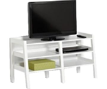 Container Store White Media Stand