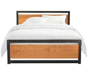 Room & Board Piper Wood Panel Bed Frame in Natural Steel