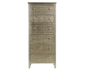 Tall Silver Embossed Dresser