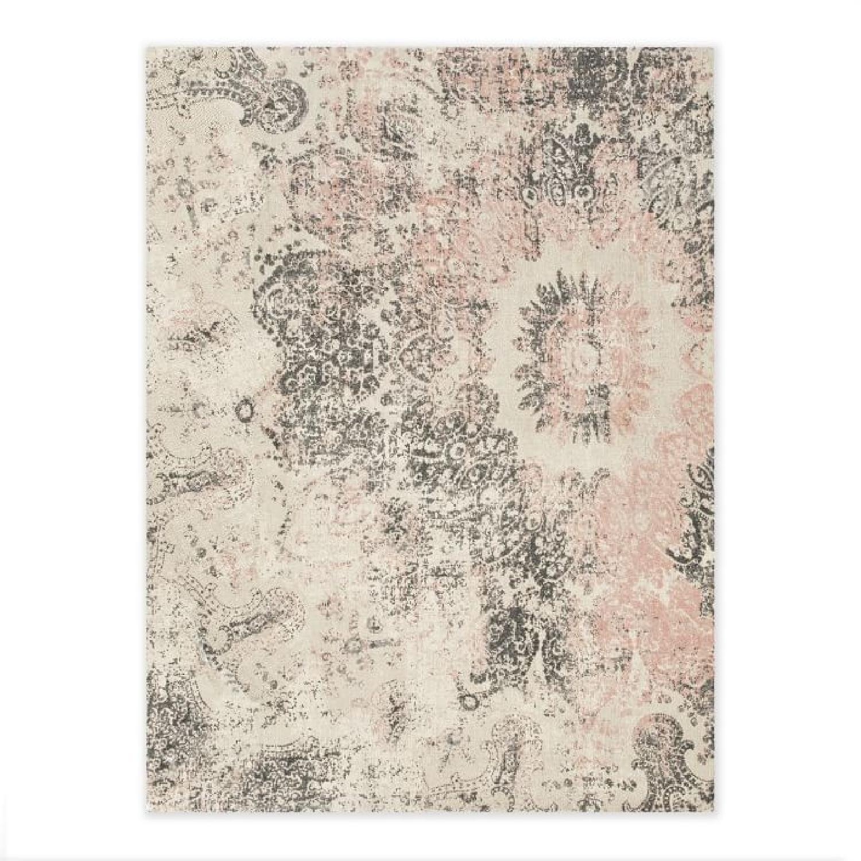 Cream/Gray/Pink Wool Area Rug