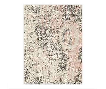 Cream/Gray/Pink Wool Area Rug