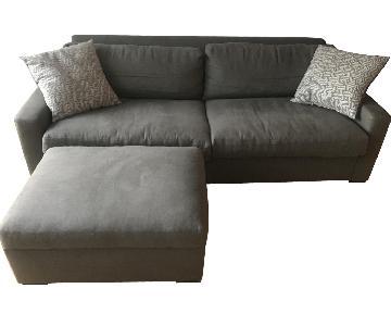 Restoration Hardware Maxwell Upholstered Sofa & Ottoman