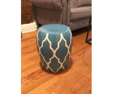 White & Blue Ceramic Garden Stool/Side Table