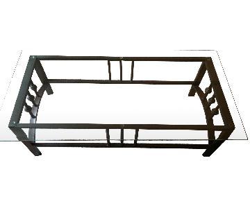 Glass Top/Bronze Metal Base Coffee Table