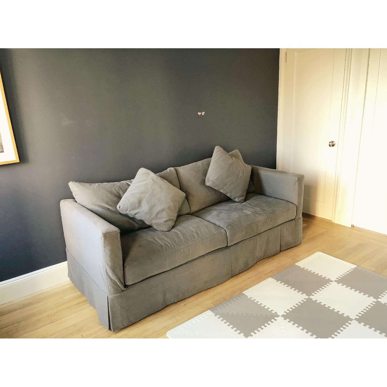 ... Crate U0026 Barrel Willow Gray Sleeper Sofa 0 ...