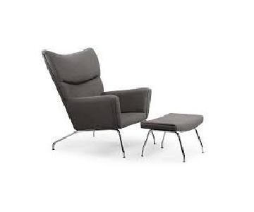 Kardiel Replica Wegner Wing Chair & Ottoman in Cadet Grey