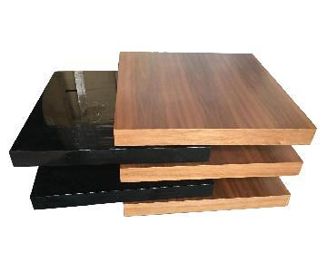 Modern Expandable Motion Coffee Table in Walnut-Black