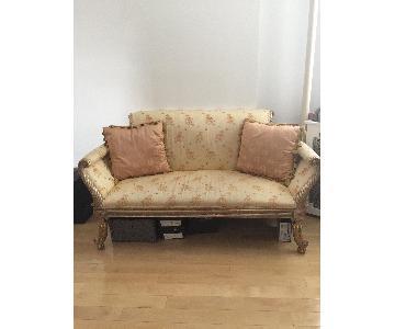 Victorian Boudoir Gold Cream Loveseat w/ Silk Pillows