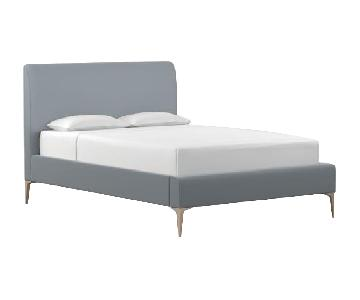 West Elm Andes Deco Steel Blue Velvet Upholstered King Bed