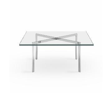 Barcelona Style Square Glass & Chrome Coffee Table