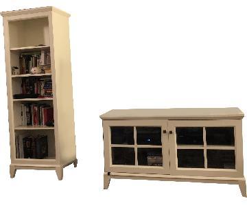 Crate & Barrel White Bookcase + TV Stand