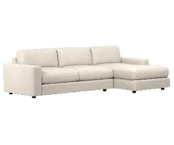West Elm Urban Basketweave Right Arm Chaise Sectional Sofa