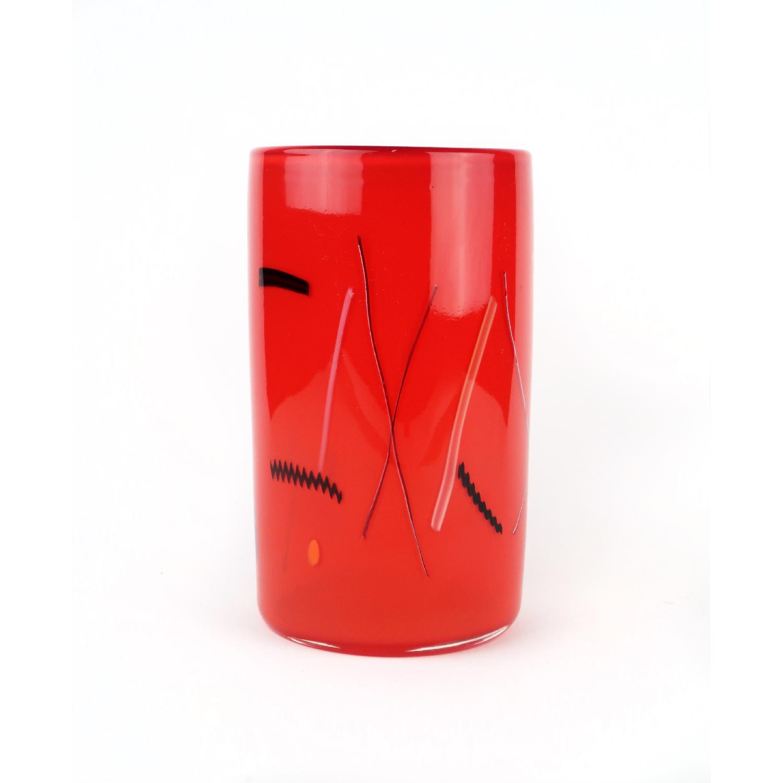 Red Bruce Pizzichillo and Dari Gordon Art Glass Vase