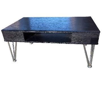 Modern Black Coffee Table w/ Mettle Lags