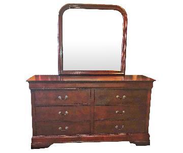 Isola Louis Philippe Style Cherry Finish Dresser w/ Mirror