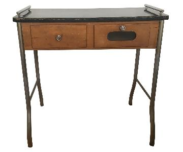 Art Deco Machine Age Tubular Chrome Lacquered Wood Top Desk