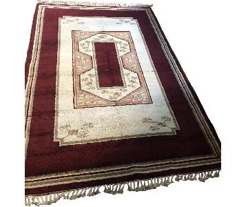 One Kings Lane Oushak Hand-Knotted Rug in Wine & Ivory