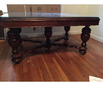 Antique 1920s Wood Dining Table w/ 6 Chairs