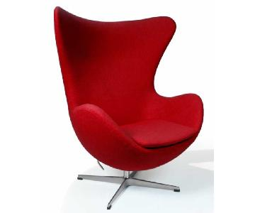 Red Wool Fabric Egg Style Chair w/ Tilt-Lock Mechanism