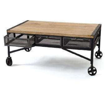 Wood & Steel Industrial Coffee Table w/ Drawers