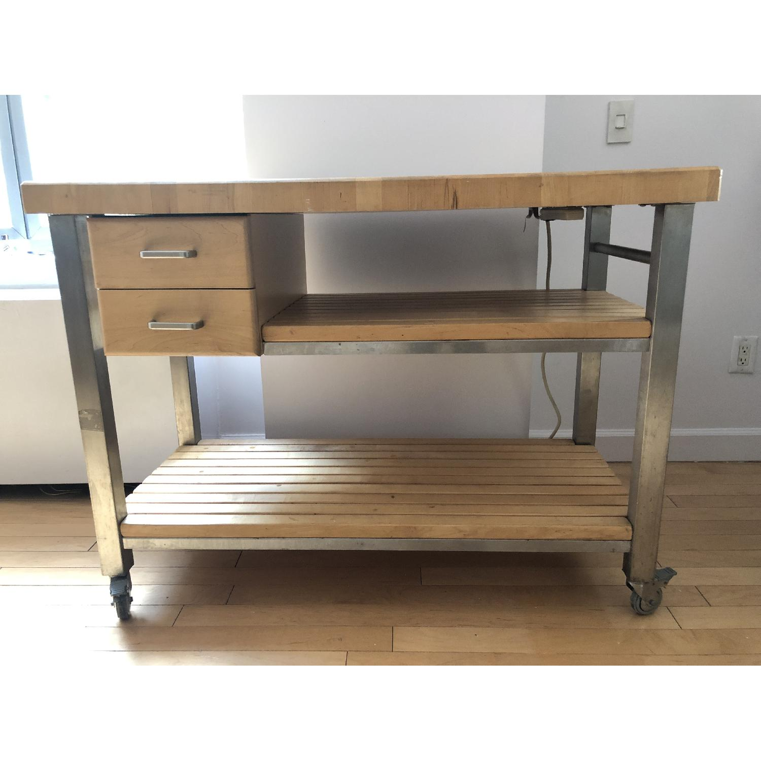 John Boos End-Grain Butcher Block Kitchen Island Cart