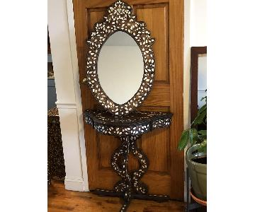 Syrian Wood & Inlaid Mother Of Pearl Mirror & Table