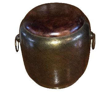 Moroccan Brass & Leather Poufs